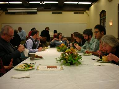 Margaret Larkin (U of California Berkeley) at end of table, Thomas Allsen (College of New Jersey, left nearest camera), Catherine Asher (U of Minnesota, right nearest camera)
